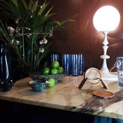 MESSING WITH ELEGANCE -TABLE SET, 2019 - E R Nele table lamp for Temde, 1960s - Per ütken ice-bucket, 1937 - Carl Auböck bronze ashtray, 1950s - Tapio Wirkkala vase, 1958.