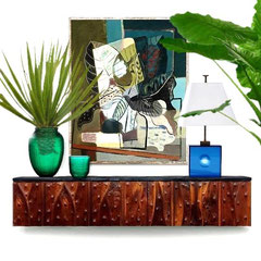 Private home, 2017 - Philip Loyd Power American walnut sideboard, 1970s. Jean Daum Art-deco green vases for Daum Nancy. French blue glass table lamp, 1960s.  Roberto Burle-Marx signed serigrafie, 1947.