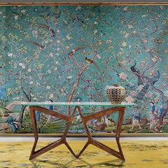 ROOM SETTING, pnmodernstudio WALLPAPER PANELS IN ELEVEN PARTS, CHINA, QING DYNASTY, LATE QIANLONG PERIOD - painted with figures in a garden and exotic birds amongst flowering branches - Italian palisander console,50s - Gio ponti vase.