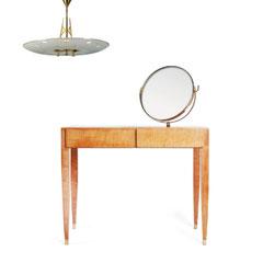 WINDOW SETTING, BERLIN 202 - Gio Ponti vanity table 1950s - Lucio Fontana Pendant for FONTANA ARTE 1950s.