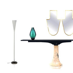 Window installation Berlin 2018 - Angelo mangiarotti floor lamp 1080s. Carlo Scarpa green vase for Venini 1940. Gio Ponti mirrors, 1950s. Italian Late 1970s marble console/table.