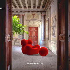 ITALIA PER SEMPRE, P&N MODERN ADVERTISEMENT, 2019 - Background featuring palazzo in Catania - Gaetano Pesce original edition, serie UP (UP5 and UP6) Big Mama chair for B&B Italia 1968.