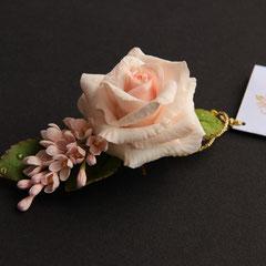 зажим для волос с нежной розой и сиренью