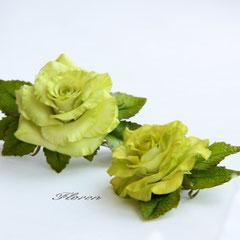 """Заколка и брошь """"Салатовые розы"""""""