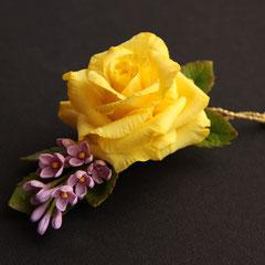 зажим для волос с желтой розой и сиренью
