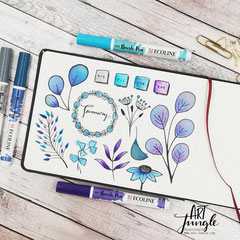 watercolor Doodle blue Leaves - Blätter einfach malen zeichnen - Easy Drawing Aquarell