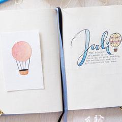 Bullet Journal Cover Titel Seite Monat Juli July Heißluftballon Hot air balloon