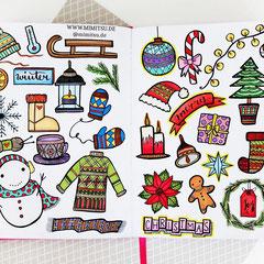 Doodles - Einfach malen und zeichnen Bullet Journal und Sketchnotes Winter