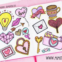 Doodles - Einfach malen und zeichnen Bullet Journal und Sketchnotes Valentinstag Love Liebe