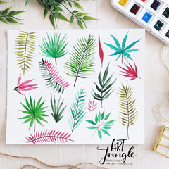 Palmblaetter - watercolor aquarell Blätter malen und zeichnen - Tropical Leaves Doodle