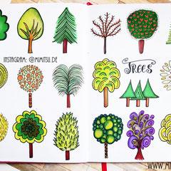 Doodles - Einfach malen und zeichnen Bullet Journal und Sketchnotes Bäume Baum Trees