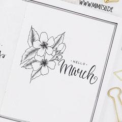 Bullet Journal Cover Title Monat März