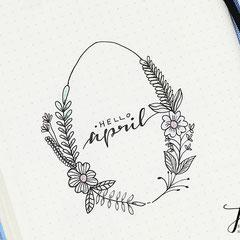 Bullet Journal Cover Titel Monat April Ostern