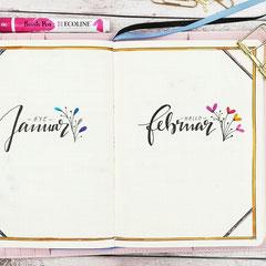 Bullet Journal Cover Title Monat Januar Februar