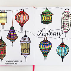 Doodles - Einfach malen und zeichnen Bullet Journal und Sketchnotes Laternen Lanterns