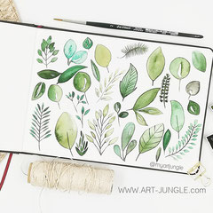 watercolor Doodle botanical Leaves - Blätter einfach malen zeichnen - Easy Drawing Aquarell