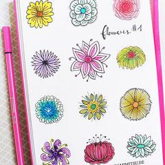 Doodles - Einfach malen und zeichnen Bullet Journal und Sketchnotes Blumen Flowers