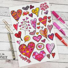 Doodles - Einfach malen und zeichnen Bullet Journal und Sketchnotes Hearts Herzen