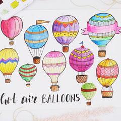 Heißluftballon Doodle einfach malen udn zeichnen - Hot air Balloon - Drawing