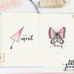 Bullet Journal Cover Titel Monat Mai May Schmertterling