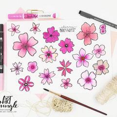 Doodle cherry blossom - Kirschblüten einfach malen zeichnen - Easy Drawing Aquarell