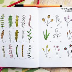 Doodles - Einfach malen und zeichnen Bullet Journal und Sketchnotes Blätter Pflanzen Leaves