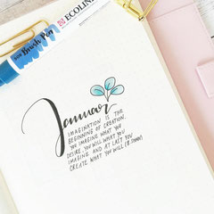 Bullet Journal Cover Title Monat Januar January