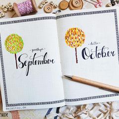 Bullet Journal Cover Title Monat September Oktober