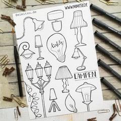 Doodles - Einfach malen und zeichnen Bullet Journal und Sketchnotes Lamps Lampen