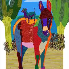 paisaje con burro y perro