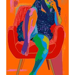 mujer en un sillón