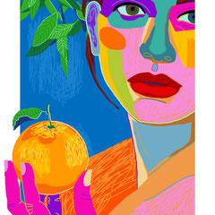 mujer con naranja