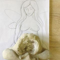 En proceso. Escultura Hada Libélula. BIG Mamá Hada Libélula