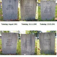 Grabsteine der sechs in Gurs verstorbenen Malscher Juden