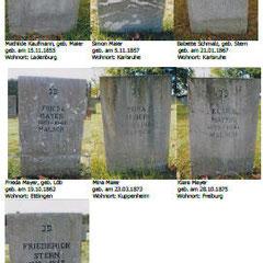 Grabsteine in Gurs von verstorbenen Juden, die in Malsch geboren wurden, aber hier nicht wohnten.