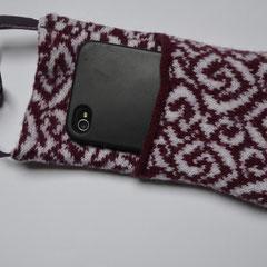 Handy-Abschirm-Hülle bordeaux/weiss, mit Telefon