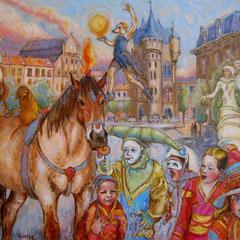 Cirque de rue aux Marolles - 92x73cm - Huile sur toile