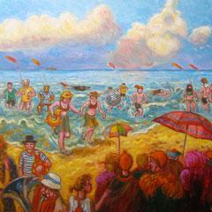 Les givrés d'Ostende - 100x81cm - Huile sur toile