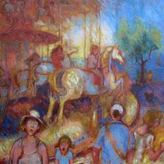 Manège à Arcachon - 100x73cm - Huile sur toile