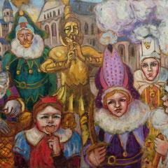 Carnaval de Nivelles - 73x50cm - huile sur toile