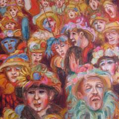 Visages de Carnaval - 50x46cm - Huile sur toile - VENDU  Ville de Langon