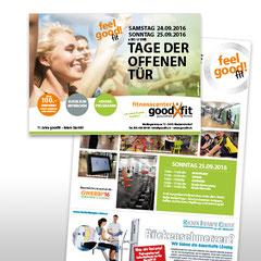 Kunde: Goodfit Fitnesscenter / Auftrag: Flyer Tag der offenen Tür