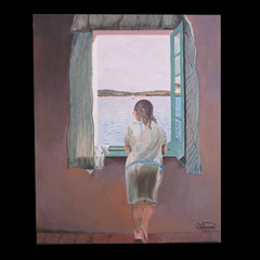 N°22 - Femme à le fenêtre ( Dali) - 61 x 50 - pas à la vente -