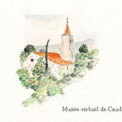 Aquarelle de Pierre Castillou, (In Chemin et Histoire Cathares)