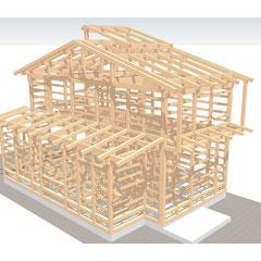 貫・足固めによる木組みの架構。しなやかで丈夫な構造を造ります。