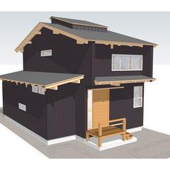 下屋に水回りを配置したシンプルな2階建てながら、真っ黒の墨付きの焼き杉板が異彩を放ちます。