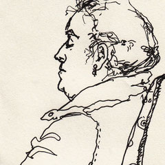 """Serie """"Passengers"""" 2017.  Zeichnungen von Mitreisenden im Zug"""