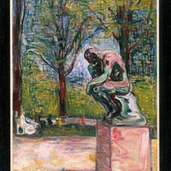 Edvard Munch, Le Penseur de Rodin dans le parc du Docteur Linde à Lübeck, 1907. Cette peinture appartenait à Rodin.(Musée Rodin)