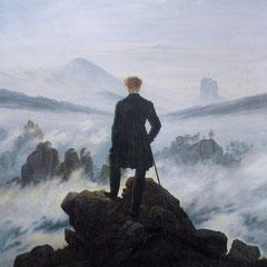 Caspar David Friedrich, Le Voyageur contemplant une mer de nuages, huile sur toile, 98x74 cm, 1818.