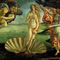 La Naissance de Vénus de Sandro Botticelli, 184 5 cm × 285 5 cm, vers 1485.
